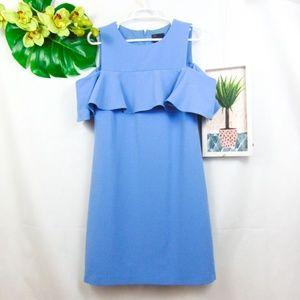 Just Taylor Blue cold shoulder dress